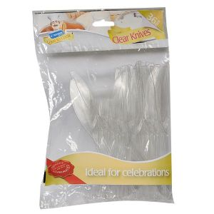 36 x Clear Plastic KNIVES - Strong Disposable Cutlery by Kingfisher